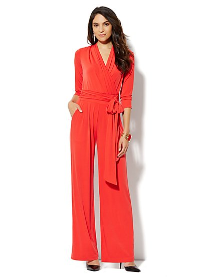 Faux-Wrap 3/4-Sleeve Jumpsuit - New York & Company