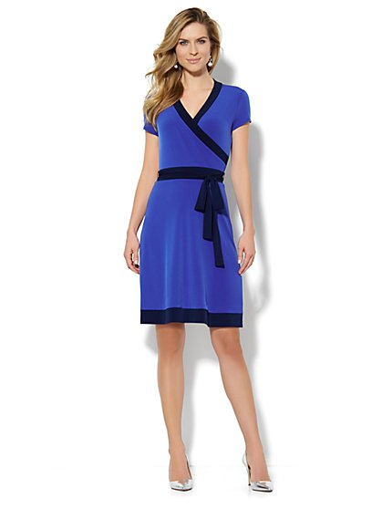 Faux-Wrap Belted Dress - Contrast-Trim