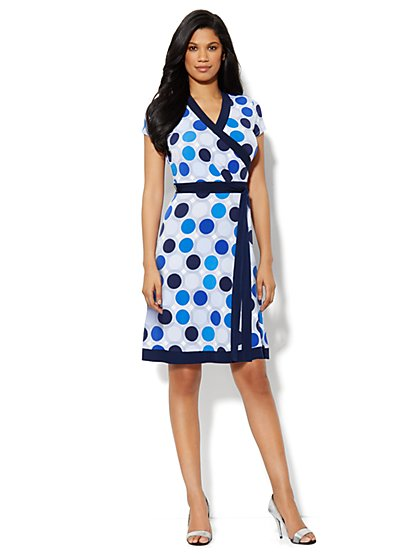 Faux-Wrap Belted Dress - Dot Print
