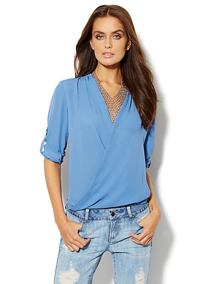 Faux-Wrap Blouse - Solid  - New York & Company
