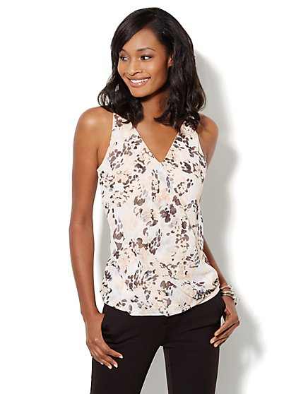 Faux-Wrap Drape Top - Print - New York & Company