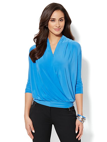 Faux-Wrap Draped Top