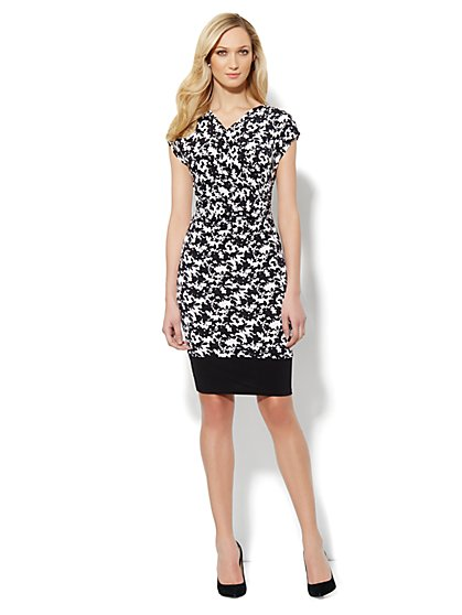 Faux-Wrap Floral-Print Dress - Black