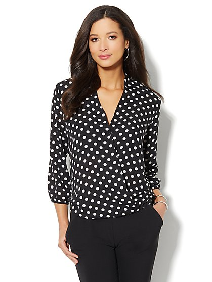 Faux-Wrap Front Blouse - New York & Company