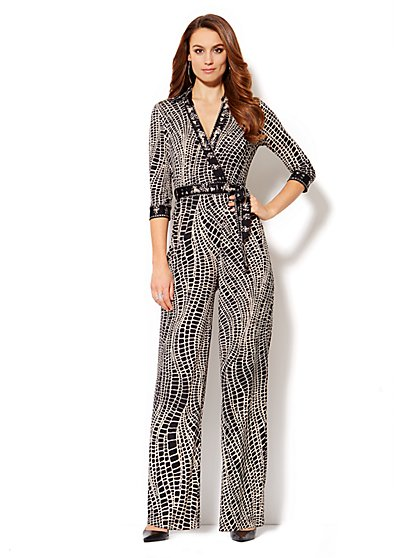 Faux Wrap-Front Jersey Jumpsuit - Print  - New York & Company