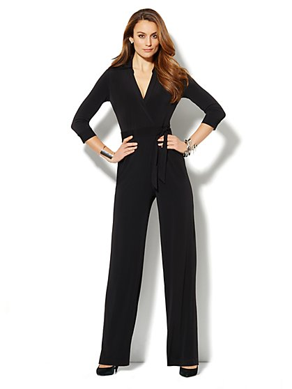 Faux Wrap-Front Jersey Jumpsuit - Solid - New York & Company