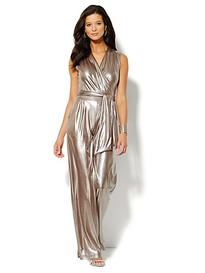Faux Wrap-Front Lamé Jumpsuit  - New York & Company