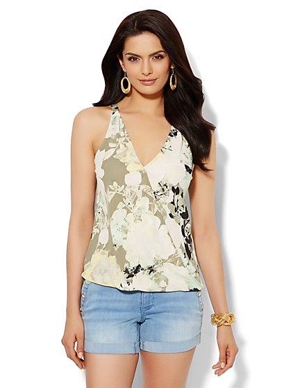 Faux-Wrap Halter - Floral  - New York & Company