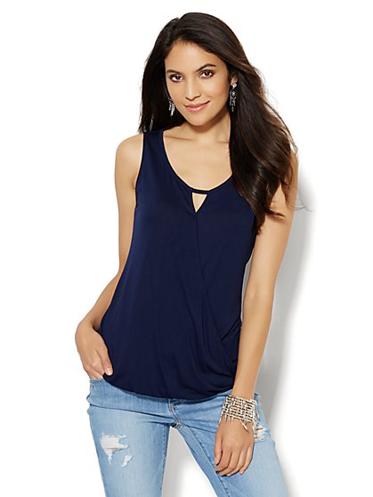 Faux-Wrap Keyhole Top - Solid  - New York & Company
