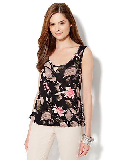 Faux-Wrap Knit Top - Floral