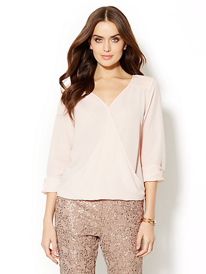Faux-Wrap Lace Yoke Draped Blouse  - New York & Company