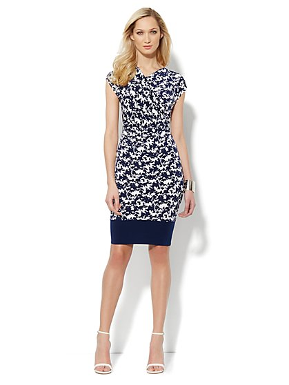 Faux-Wrap Pleated Dress - Print