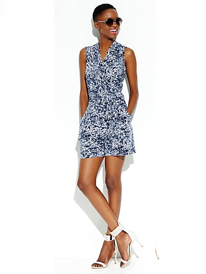 Faux-Wrap Print Romper - Blue - New York & Company