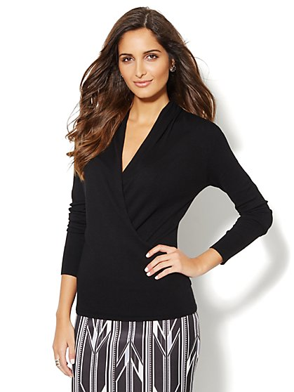 Faux-Wrap Shirred Sweater - New York & Company