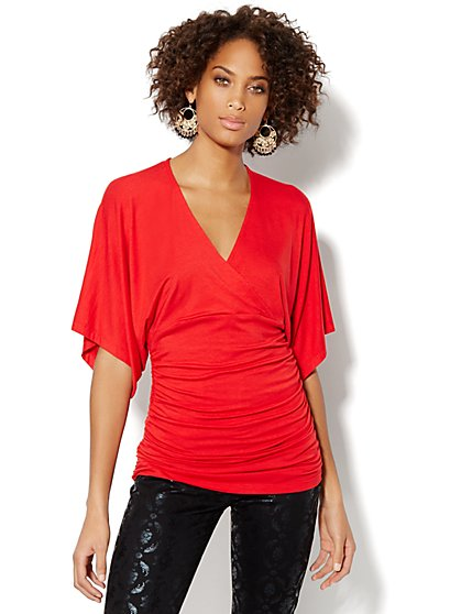 Faux-Wrap Shirred Tunic - New York & Company