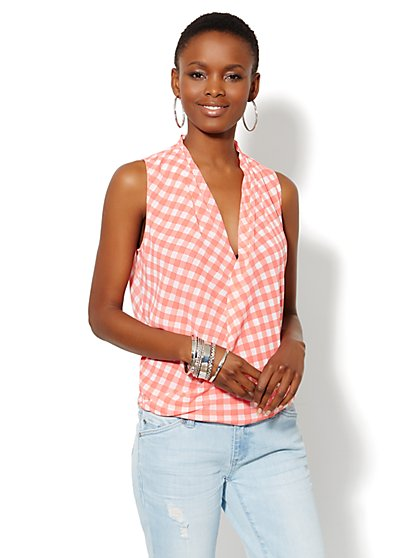 Faux-Wrap Sleeveless Blouse - Gingham  - New York & Company