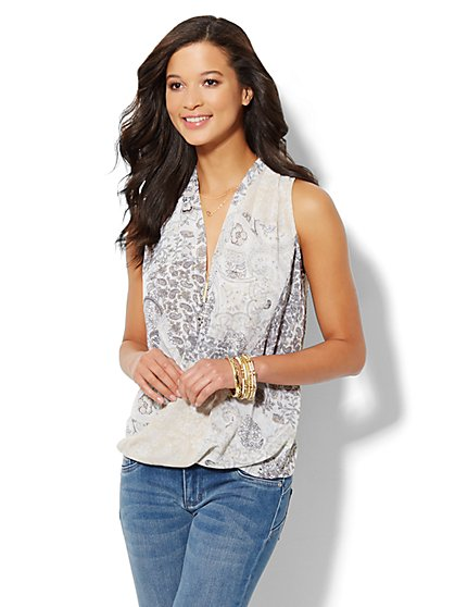 Faux-Wrap Sleeveless Blouse - Paisley  - New York & Company
