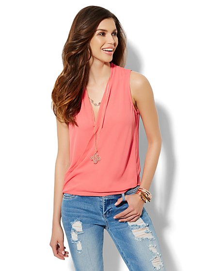 Faux-Wrap Sleeveless Blouse - Solid  - New York & Company