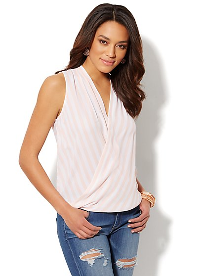 Faux-Wrap Sleeveless Blouse - Striped  - New York & Company