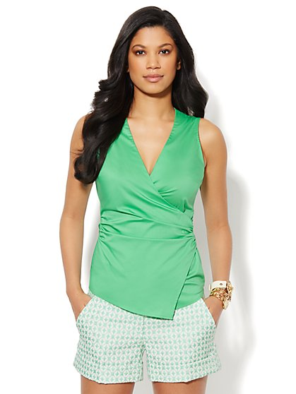 Faux-Wrap Sleeveless Top