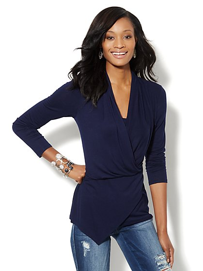 Faux-Wrap Tunic Top  - New York & Company