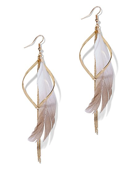Feather & Chain-Link Drop Earring  - New York & Company