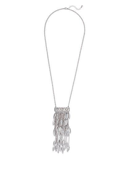 Feather & Fringe Pendant Necklace  - New York & Company