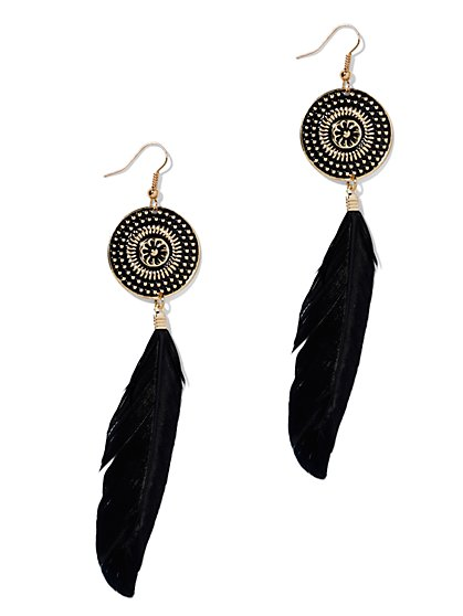 Feather & Medallion Drop Earring  - New York & Company