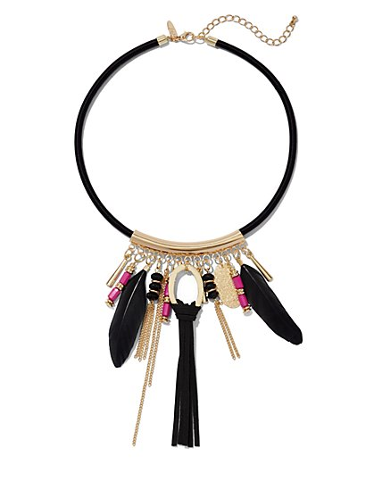 Feathered & Tassel Collar Necklace  - New York & Company