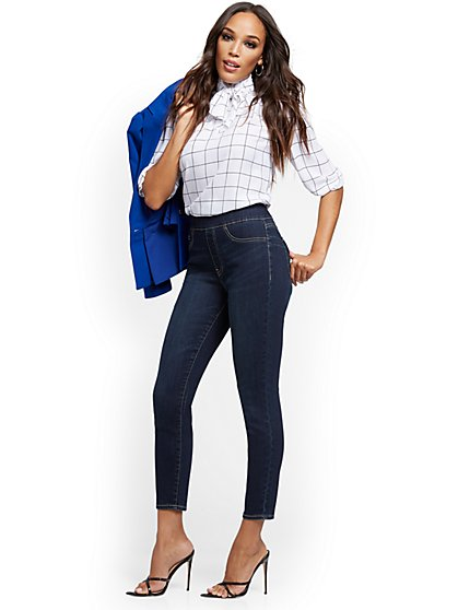 Feel-Good High-Waisted No Gap Pull-On Super-Skinny Ankle Jeans - Moonlight Blue - New York & Company