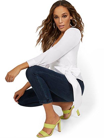 Feel-Good High-Waisted No Gap Pull-On Super-Skinny Capri Jeans - Foxy Blue - New York & Company
