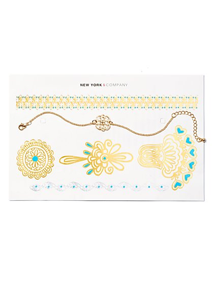 Filigree Bracelet & Temporary Tattoo Set  - New York & Company