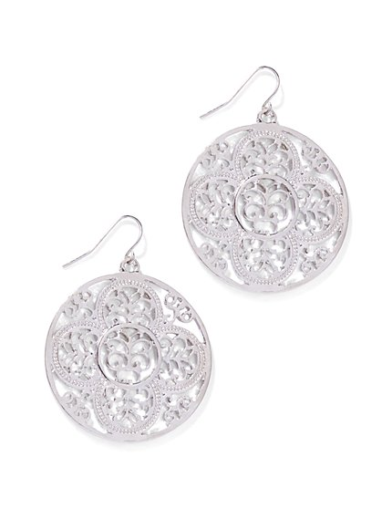 Filigree Disc Drop Earring  - New York & Company