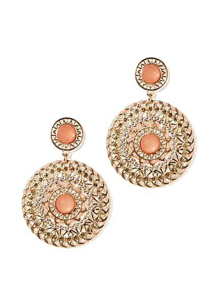 Filigree Disc-Drop Earrings