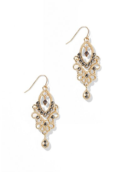 Filigree Faux-Stone Chandelier Earring  - New York & Company