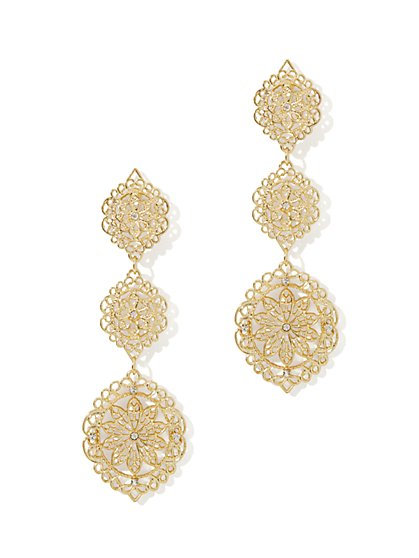 Filigree Floral Drop Earring - New York & Company