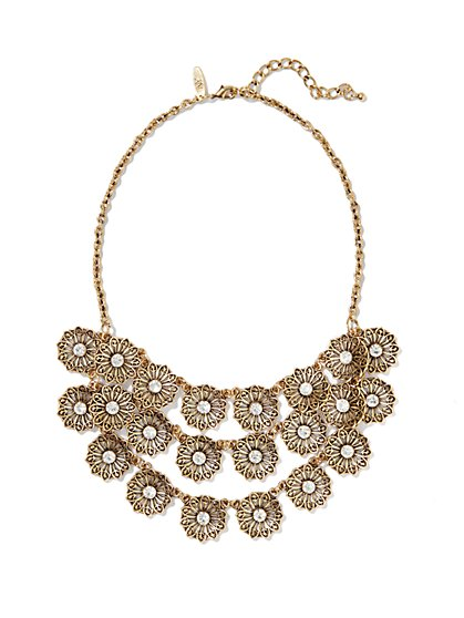 Filigree Flowers Bib Necklace - New York & Company