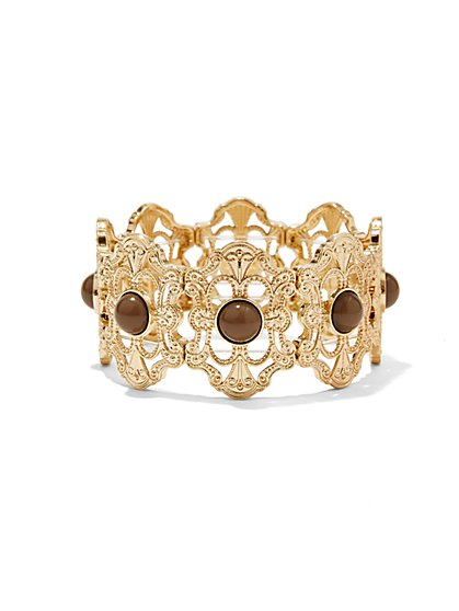 Filigree Medallion Hinge Bracelet  - New York & Company