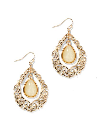 Filigree Open-Teardrop Earrings  - New York & Company