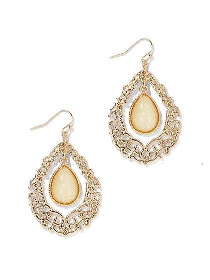 Filigree Open-Teardrop Earrings  - New York & Company
