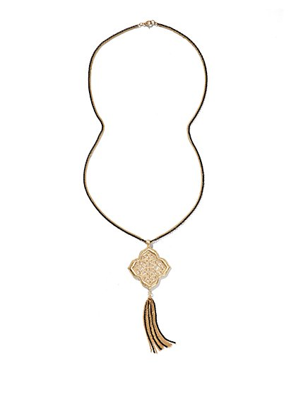 Filigree Pendant Long Tassel Necklace  - New York & Company