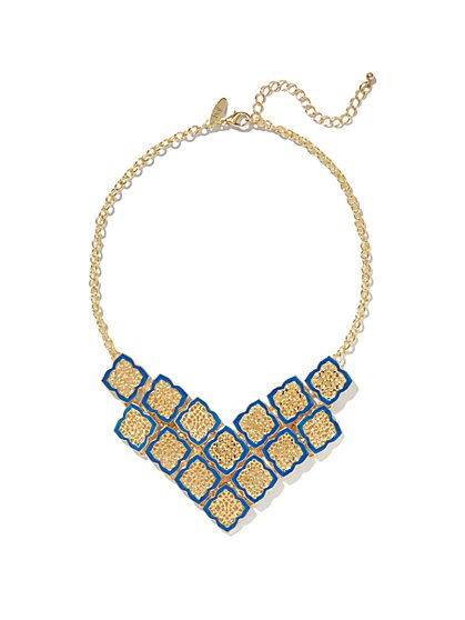 Filigree V-Shape Bib Necklace  - New York & Company