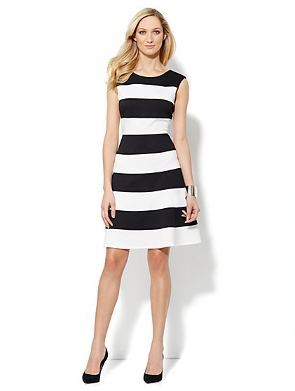 Fit & Flare Stripe Dress