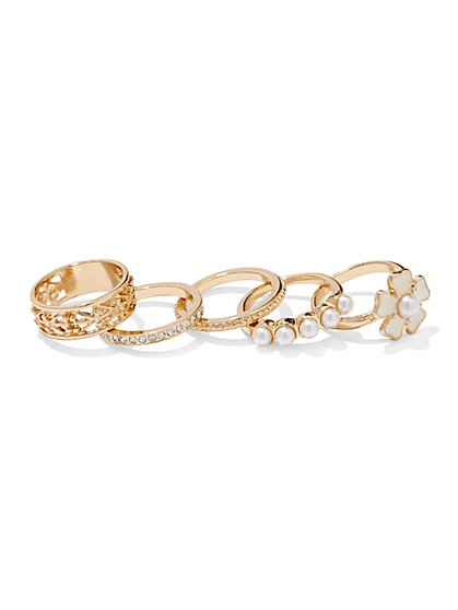Five-Piece Faux Pearl Ring Set  - New York & Company
