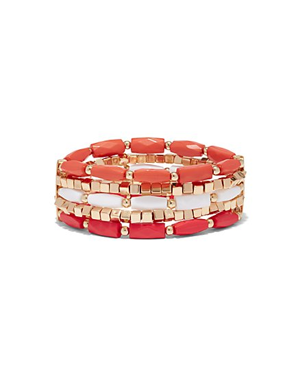 Five-Row Beaded Stretch Bracelet  - New York & Company