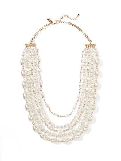 Five-Row Faux-Pearl Beaded Necklace