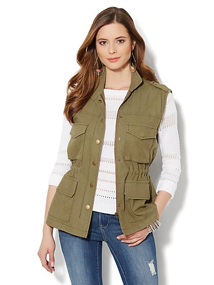 Flap-Pocket Cargo Vest - New York & Company