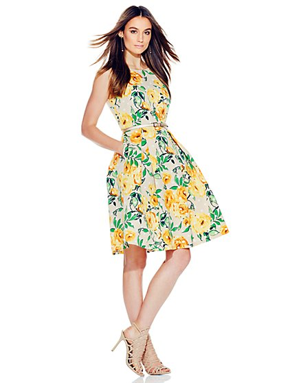 Flare Dress - Floral & Dot Print  - New York & Company