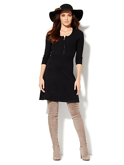 Flare Ribbed Sweater Dress  - New York & Company