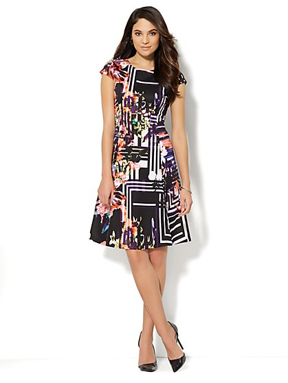 Flare Scuba Dress - Plaid Print  - New York & Company